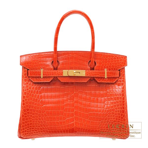 8106bed1ee Hermes Birkin bag 30 Orange poppy Porosus crocodile skin Gold hardware
