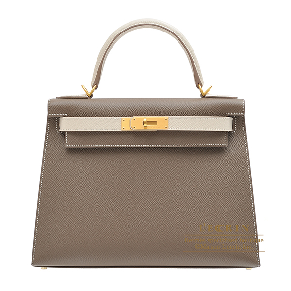 06ef91838970 Hermes Personal Kelly bag 28 Sellier Etoupe grey Craie Epsom leather Matt gold  hardware