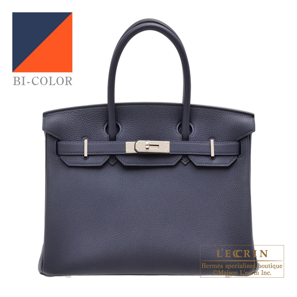 11ee18df7328 Hermes Birkin Verso bag 30 Blue nuit Orange poppy Togo leather Silver  hardware