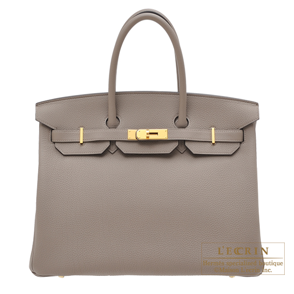 Hermes Birkin Bag 35 Gris Asphalt Togo Leather Gold Hardware