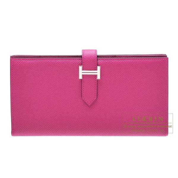エルメス ベアンスフレ ローズパープル ヴォーエプソン シルバー金具 HERMES Bearn Soufflet Rose purple Epsom leather Silver hardware