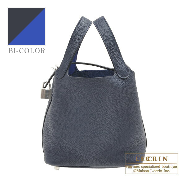 1badac1d0d Hermes Picotin Lock Eclat bag PM Blue nuit Blue electric Clemence leather Swift  leather Silver hardware