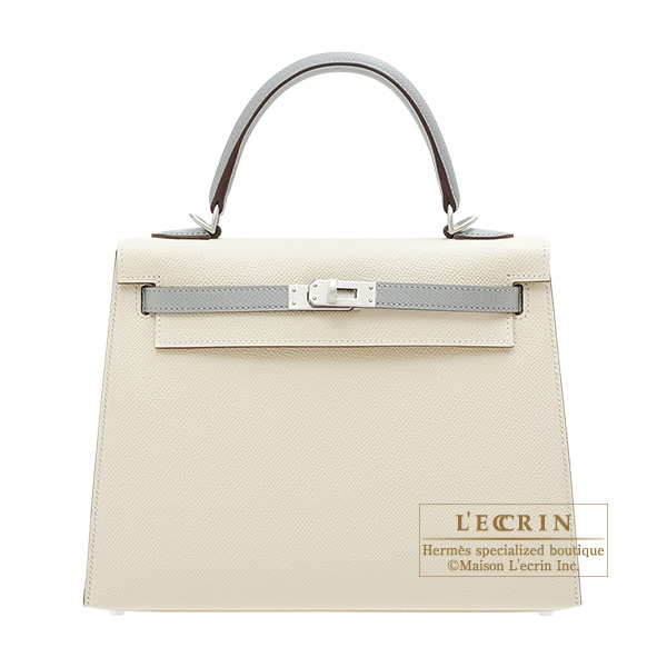 9d643c8b689 Hermes Personal Kelly bag 25 Sellier Craie Gris mouette Epsom leather Matt silver  hardware