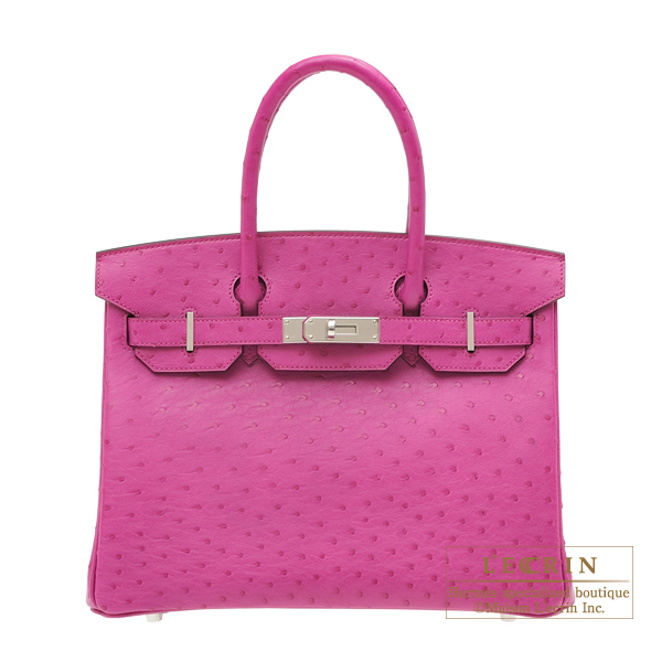 エルメス バーキン30 ローズパープル オーストリッチ シルバー金具 HERMES Birkin bag 30 Rose purple Ostrich leather Silver hardware