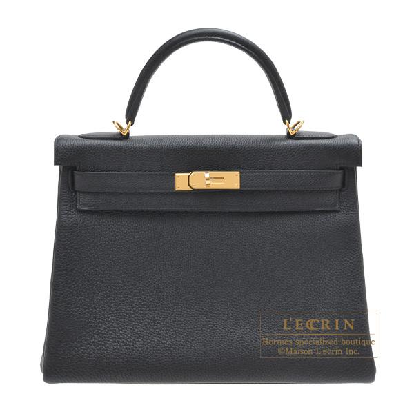 エルメス ケリー32/内縫い ブラック トゴ ゴールド金具 HERMES Kelly bag 32 Retourne Black Togo leather Gold hardware