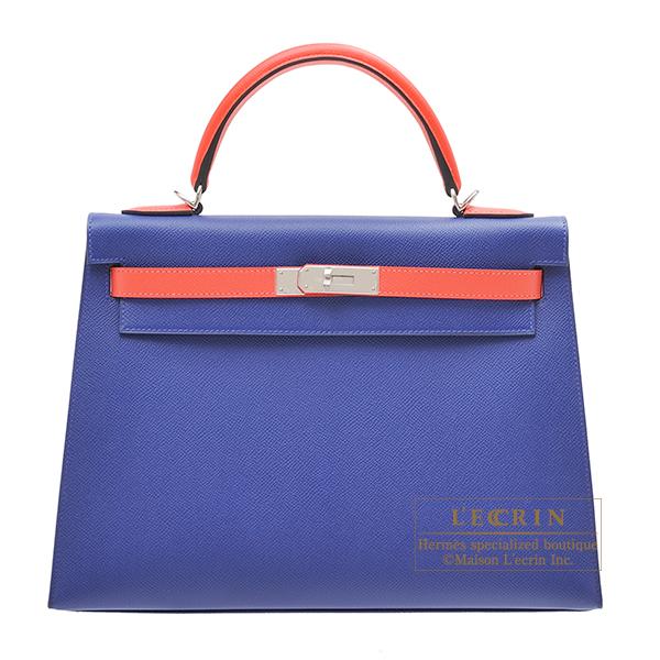 エルメス パーソナルケリー32/外縫い ブルーエレクトリック/ローズジャイプール ヴォーエプソン シルバー金具 HERMES Personal Kelly bag 32 Sellier Blue electric/Rose jaipur Epsom leather Silver hardware