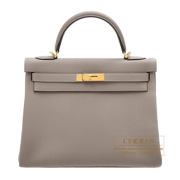 Hermes Kelly Bag 32 Retourne Gris Asphalt Togo Leather Gold Hardware