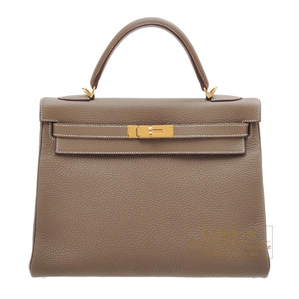 エルメス ケリー32/内縫い エトゥープ トリヨンクレマンス ゴールド金具 HERMES Kelly bag 32 Retourne Etoupe grey Clemence leather Gold hardware