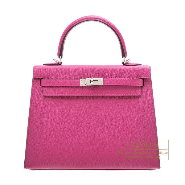 エルメス ケリー25/外縫い ローズパープル ヴォーエプソン シルバー金具 HERMES Kelly bag 25 Sellier Rose purple Epsom leather Silver hardware