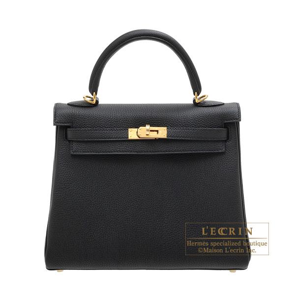 エルメス ケリー25/内縫い ブラック トゴ ゴールド金具 HERMES Kelly bag 25 Retourne Black Togo leather Gold hardware