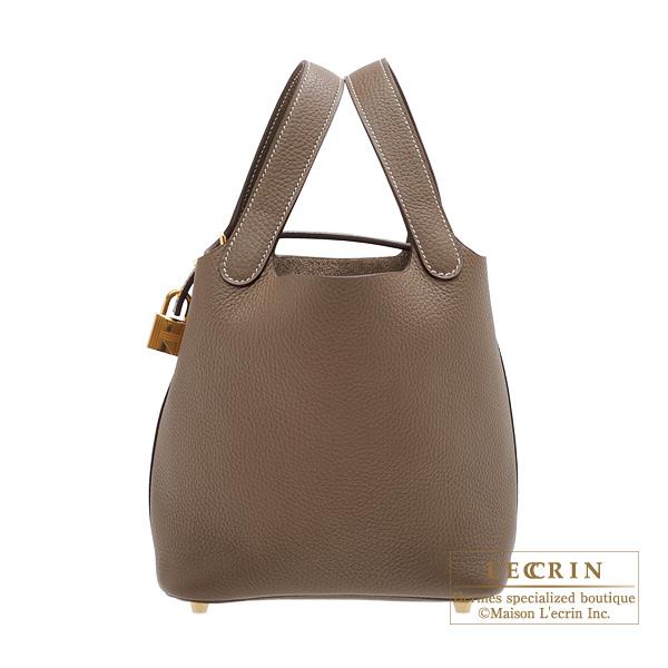 efff66278917 Hermes Picotin Lock bag PM Etoupe grey Clemence leather Gold hardware