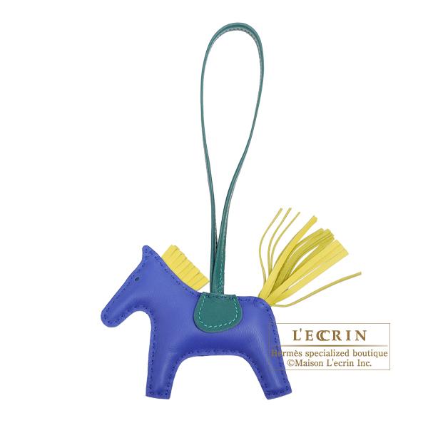 エルメス ロデオチャームPM ブルーエレクトリック/ライム アニョーミロ HERMES Rodeo charm PM Blue electric/Lime Agneau