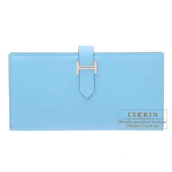 エルメス ベアンスフレ セレスト ヴォーエプソン シルバー金具 HERMES Bearn Soufflet Celeste Epsom leather Silver hardware