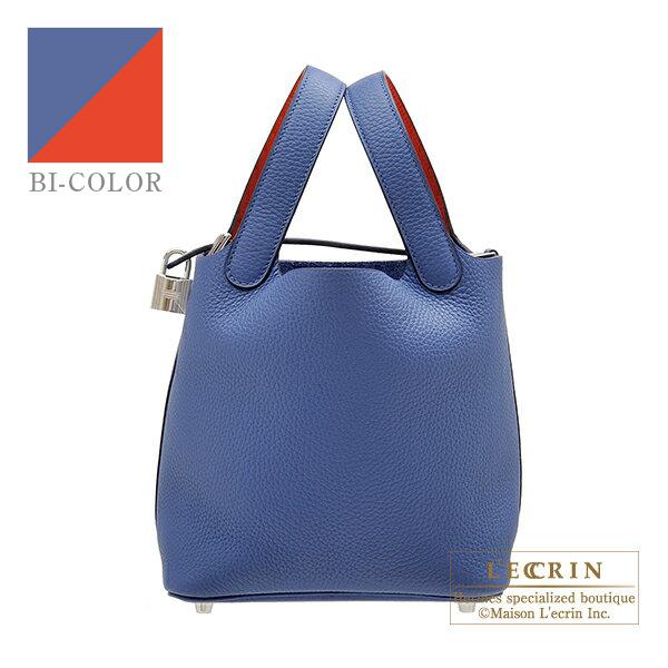 エルメス ピコタンロックエクラPM ブルーブライトン/カプシーヌ トリヨンクレマンス/スイフト シルバー金具 HERMES Picotin Lock Eclat bag PM Blue brighton/Capucine Clemence leather/Swift leather Silver hardware