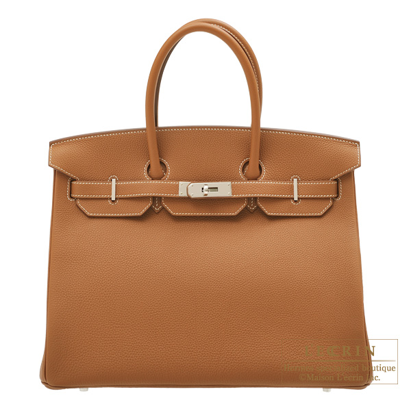 エルメス バーキン35 ゴールド トゴ シルバー金具 HERMES Birkin bag 35 Gold Togo leather Silver hardware