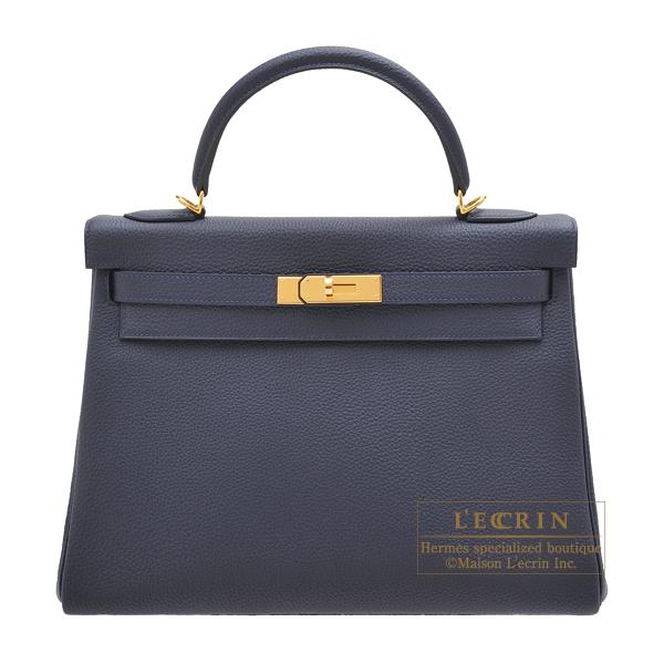 エルメス ケリー32/内縫い ブルーニュイ トゴ ゴールド金具 HERMES Kelly bag 32 Retourne Blue nuit Togo leather Gold hardware