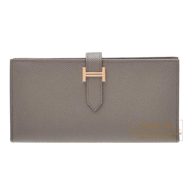 エルメス ベアンスフレ エタン ヴォーエプソン ローズゴールド金具 HERMES Bearn Soufflet Etain Epsom leather Rose gold hardware