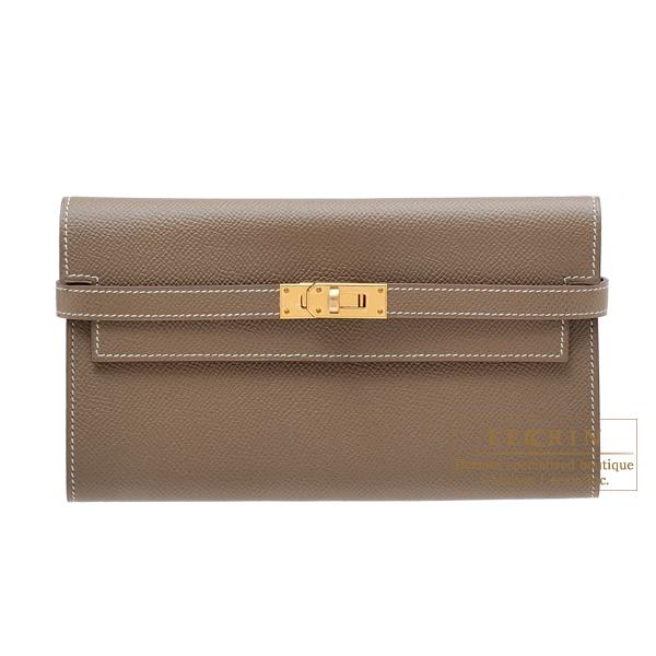 完売 エルメス ケリーウォレットロング エトゥープ ヴォーエプソン long Etoupe ゴールド金具 HERMES Kelly grey Epsom wallet long hardware Etoupe grey Epsom leather Gold hardware, ハローネットワーク:390836ec --- online-cv.site