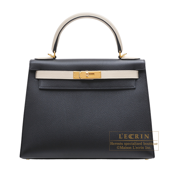 0bc029ed8cdcc Hermes Personal Kelly bag 28 Sellier Black Craie Togo leather Gold hardware