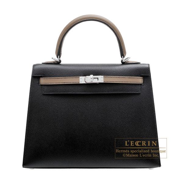 エルメス パーソナルケリー25/外縫い ブラック/エトゥープ ヴォーエプソン シルバー金具 HERMES Personal Kelly bag 25 Sellier Black/Etoupe grey Epsom leather Silver hardware