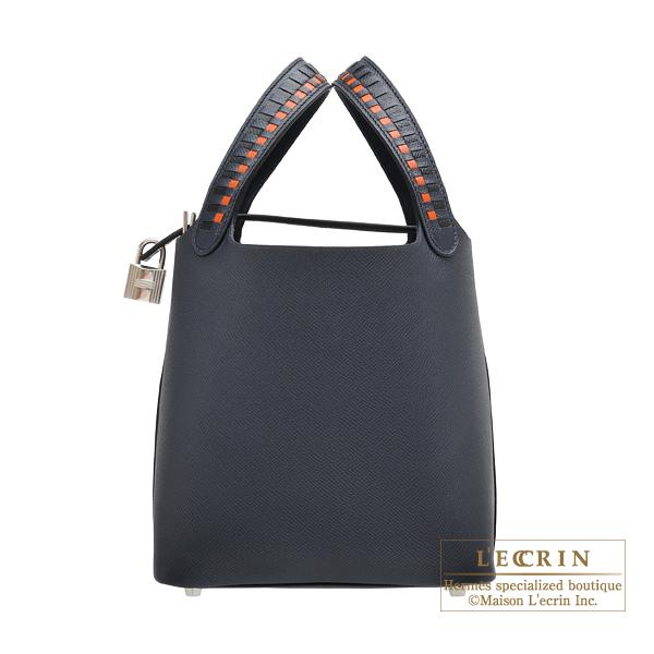 9be0b6f75b Hermes Picotin Lock Tressage De Cuir bag PM Blue indigo Black Terre battue Epsom  leather Silver hardware
