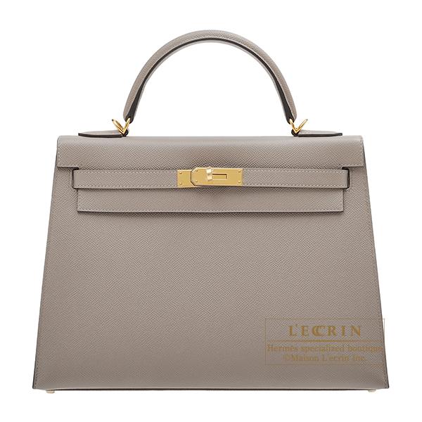 エルメス ケリー32/外縫い グリアスファルト ヴォーエプソン ゴールド金具 HERMES Kelly bag 32 Sellier Gris asphalt Epsom leather Gold hardware