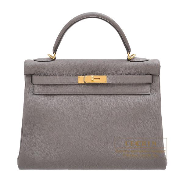 エルメス ケリー32/内縫い エタン トゴ ゴールド金具 HERMES Kelly bag 32 Retourne Etain Togo leather Gold hardware