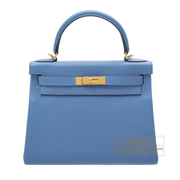エルメス ケリー28/内縫い アズール トゴ ゴールド金具 HERMES Kelly bag 28 Retourne Azur Togo leather Gold hardware