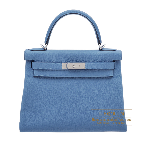 エルメス ケリー28/内縫い アズール トゴ シルバー金具 HERMES Kelly bag 28 Retourne Azur Togo leather Silver hardware