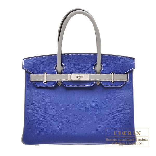 エルメス パーソナルバーキン30 ブルーエレクトリック/グリムエット ヴォーエプソン マットシルバー金具 HERMES Personal Birkin bag 30 Blue electric/Gris mouette Epsom leather Matt silver hardware