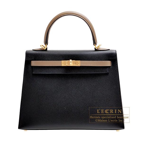 エルメス パーソナルケリー25/外縫い ブラック/エトゥープ ヴォーエプソン ゴールド金具 HERMES Personal Kelly bag 25 Sellier Black/Etoupe grey Epsom leather Gold hardware
