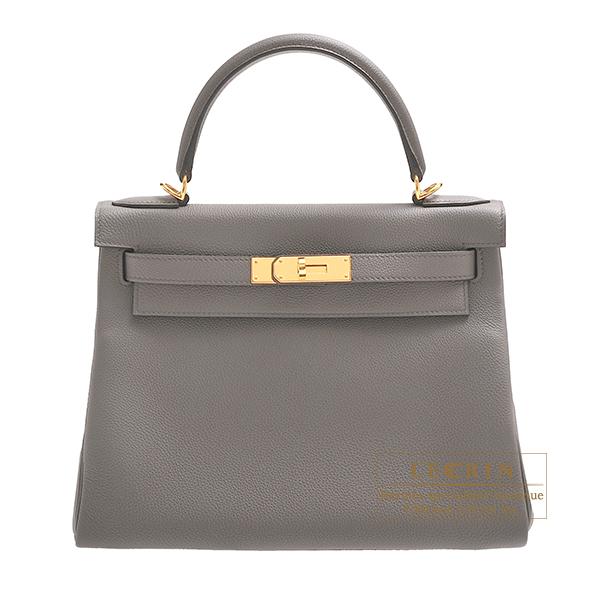 エルメス ケリー28/内縫い エタン トゴ ゴールド金具 HERMES Kelly bag 28 Retourne Etain Togo leather Gold hardware