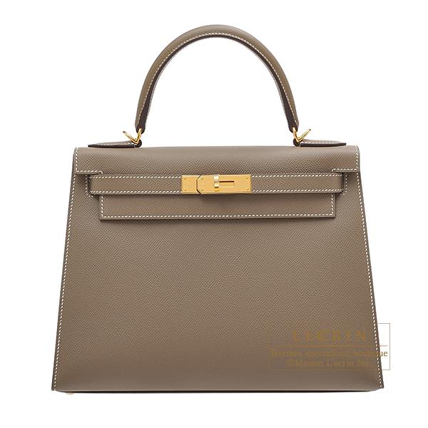 エルメス ケリー28/外縫い エトゥープ ヴォーエプソン ゴールド金具 HERMES Kelly bag 28 Sellier Etoupe grey Epsom leather Gold hardware