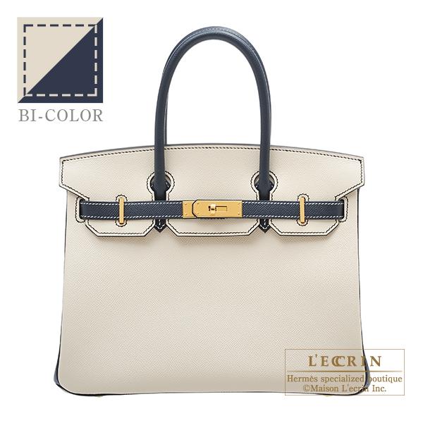 エルメス パーソナルバーキン30 クレ/ブルーインディゴ ヴォーエプソン ゴールド金具 HERMES Personal Birkin bag 30 Craie/Blue indigo Epsom leather Gold hardware