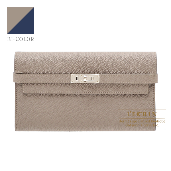 d8791d3e874 Lecrin Boutique Tokyo  Hermes Kelly wallet long Verso Gris asphalt Blue  indigo Epsom leather Silver hardware