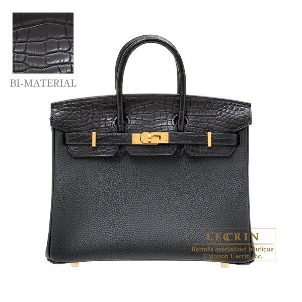 3966dcbb8a93 Hermes Birkin Touch bag 25 Black Togo leather  Matt alligator crocodile  skin Gold hardware