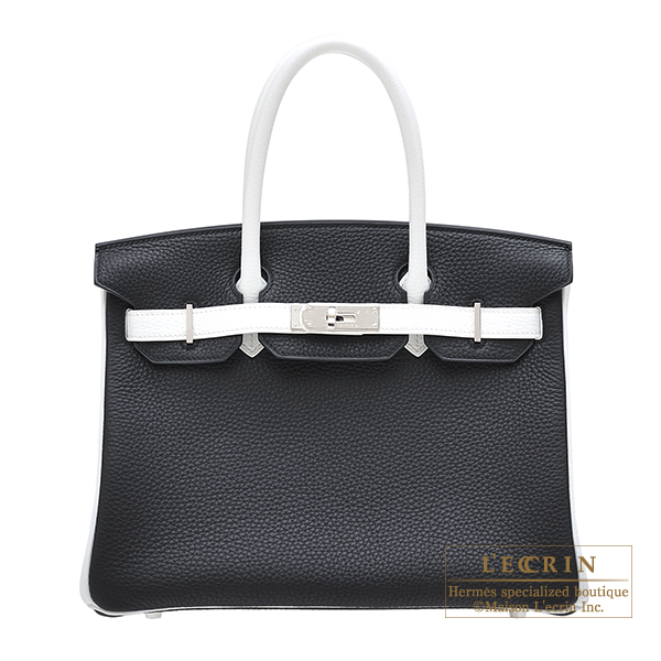 Hermes Personal Birkin bag 30 Black White Clemence leather Silver hardware 51fadfd705
