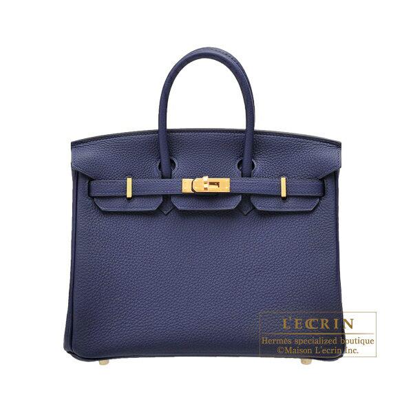 Hermes birkin Bag 25 blue Encre togo Leather gold Hardware