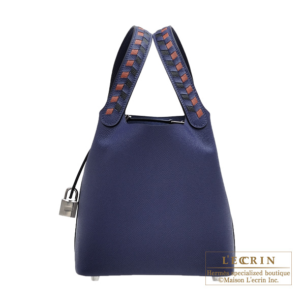 becc7b38bb HERMES Picotin Lock Tressage De Cuir bag PM Blue encre Brick Black Epsom  leather Silver hardware