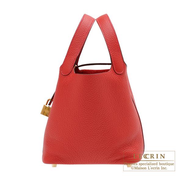 エルメス ピコタンロックPM ルージュカザック トリヨンクレマンス ゴールド金具 HERMES Picotin Lock bag PM Rouge casaque Clemence leather Gold hardware