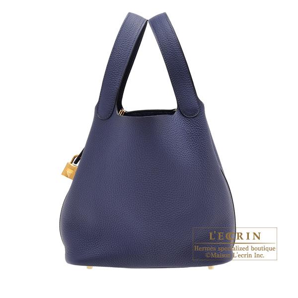 新作人気 エルメス leather Gold ピコタンロックMM ブルーアンクル bag トリヨンクレマンス ゴールド金具 HERMES Picotin Lock bag hardware MM Blue encre Clemence leather Gold hardware, 長島町:2e741088 --- askamore.com