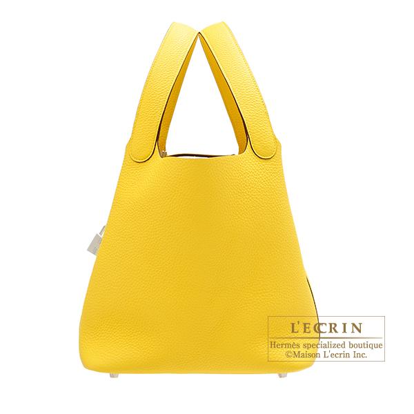 afd489b4871f Hermes Picotin Lock bag MM Jaune de naples Clemence leather Silver hardware