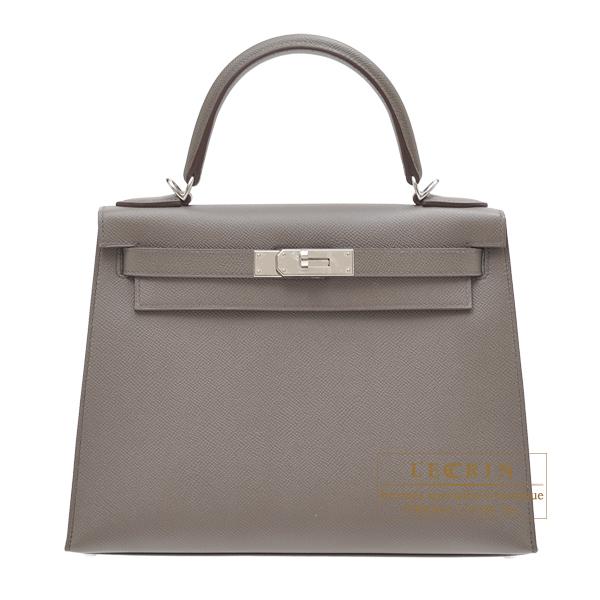 エルメス ケリー28/外縫い エタン ヴォーエプソン シルバー金具 HERMES Kelly bag 28 Sellier Etain Epsom leather Silver hardware