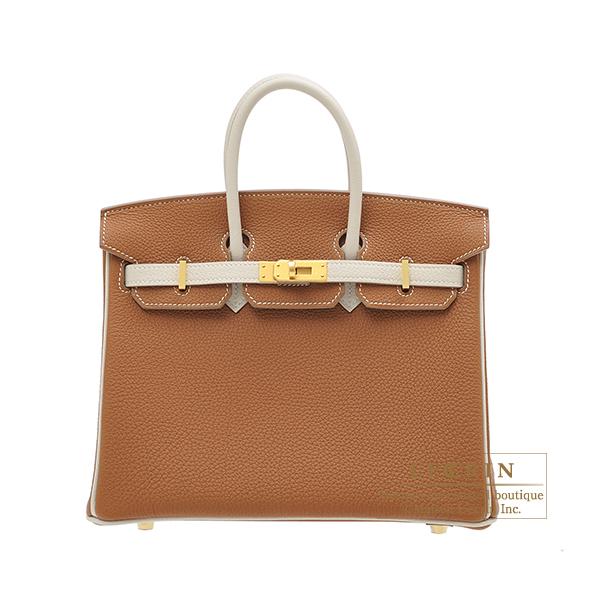 エルメス パーソナルバーキン25 ゴールド/クレ トゴ マットゴールド金具 HERMES Personal Birkin bag 25 Gold/Craie Togo leather Matt gold hardware