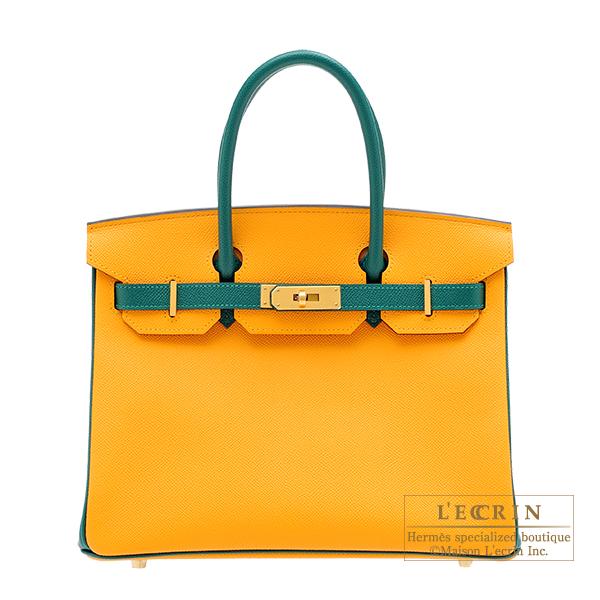 エルメス パーソナルバーキン30 ジョーヌドール/マラカイト ヴォーエプソン マットゴールド金具 HERMES Personal Birkin bag 30 Jaune d'or/Malachite Epsom leather Matt gold hardware