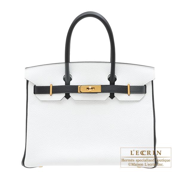 エルメス パーソナルバーキン30 ホワイト/ブラック トリヨンクレマンス ゴールド金具 HERMES Personal Birkin bag 30 White/Black Clemence leather Gold hardware
