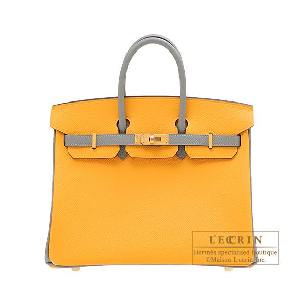 エルメス パーソナルバーキン25 ジョーヌドール/グリムエット ヴォーエプソン マットゴールド金具 HERMES Personal Birkin bag 25 Jaune d'or/Gris mouette Epsom leather Matt gold hardware