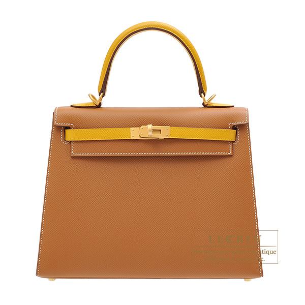 エルメス パーソナルケリー25/外縫い ゴールド/ジョーヌアンブル ヴォーエプソン マットゴールド金具 HERMES Personal Kelly bag 25 Sellier Gold/Jaune ambre Epsom leather Matt gold hardware