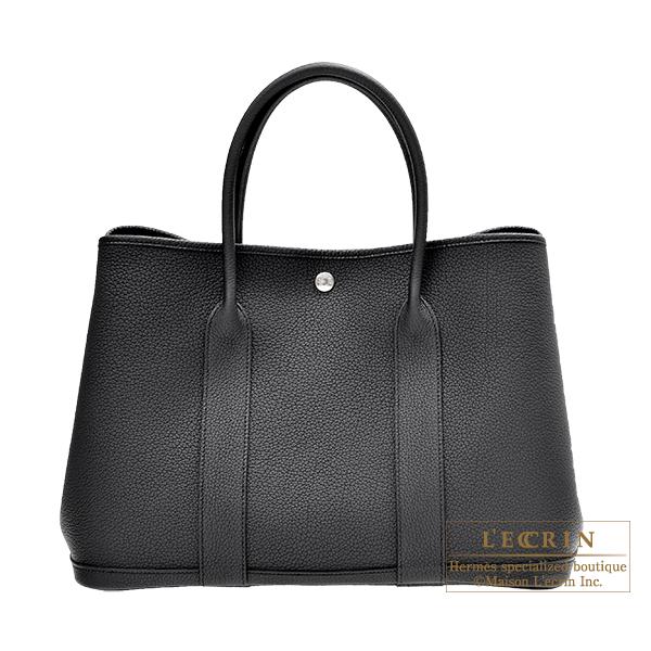 エルメス ガーデンパーティPM ブラック ネゴンダ シルバー金具 HERMES Garden Party bag PM Black Negonda leather Silver hardware