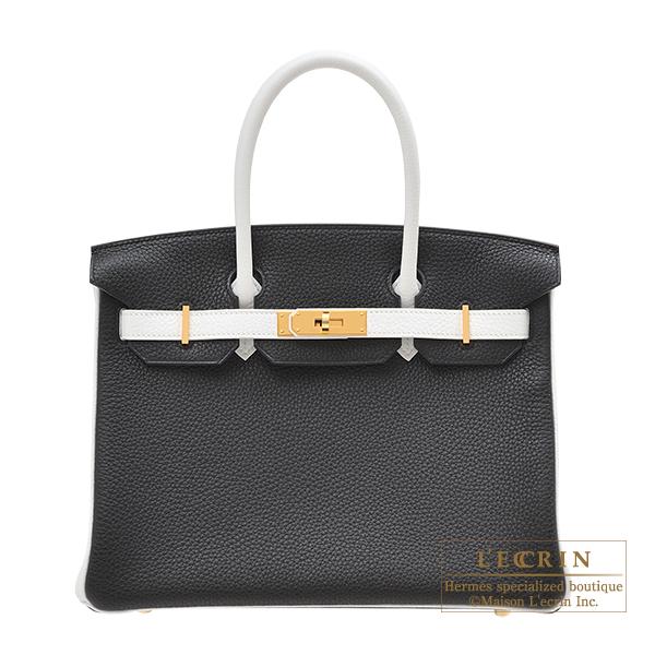エルメス パーソナルバーキン30 ブラック/ホワイト トリヨンクレマンス ゴールド金具 HERMES Personal Birkin bag 30 Black/White Clemence leather Gold hardware